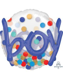 3D Shape Deluxe Boy Confetti Balloon 36""