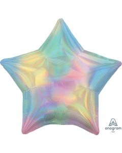 Iridescent Pastel Rainbow Star Foil balloon 18""